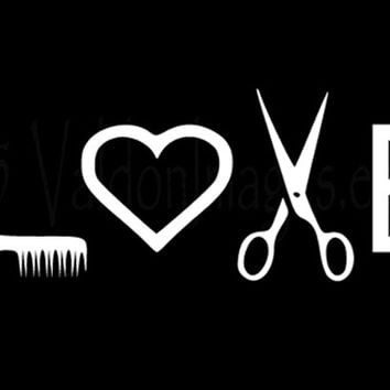 Love Hairstylist Car Decal Laptop Decal From ValdonImages On - Hair stylist custom vinyl decals for car