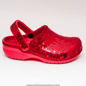 Sequin Red Cayman Slip On Clogs Casual Shoes