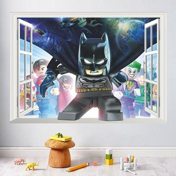 Batman Dark Knight gift Christmas 3D False Window Children Hero Batman Cartoon Wall Stickers For Kid Nursery Room Decoration Home Living Room Bedroom Mural Poster AT_71_6