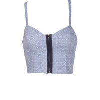 Allover Print Chambray Bralette Dot