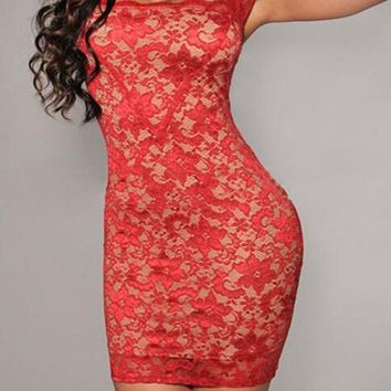 Red Floral Lace Hollow-out See-through Square Neck Cap Sleeve Bodycon Mini Dress
