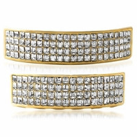 8 Rows Clear 14K Gold Plated Grillz Set