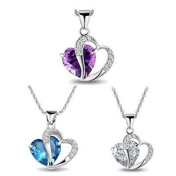 Women Fashion Jewelry Love Heart Crystal Rhinestone Pendant Necklace Chain Gift = 5987847553