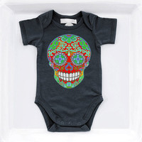Red Sugar Skull Baby Boy Clothes 3 6 9 12 month Black rockabilly baby bodysuit. Hipster Girl Boy Cute Summer tshirt Kids Mendhi Skull