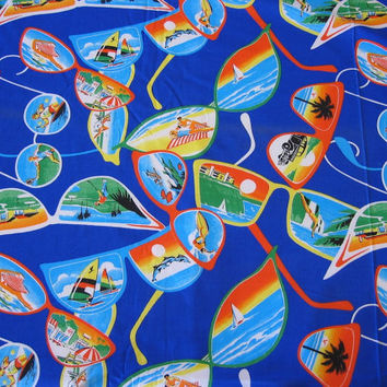 Vintage Novelty Fabric Sunglasses with Beach Scenes - 5 YARDS, 22 INCHES