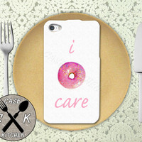 I Doughnut Care Funny Pink Donut Sprinkles Cute Custom Rubber Tough Phone Case For The iPhone 4 and 4s and iPhone 5 and 5s and 5c