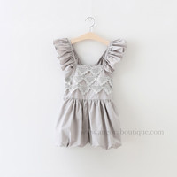 "The ""Elsie"" Gray Lace Romper"