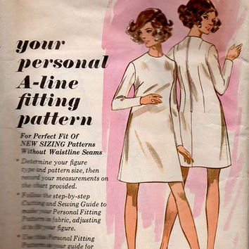 Butterick Teaching Pattern 1960s A-line Dress Fitting Learn To Sew Pattern Basic Style Size 16 Bust 38