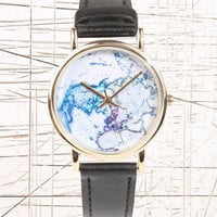Black Globe Leather Watch at Urban Outfitters