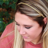 Gold Two Strand Beaded Headband