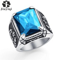 Jiayiqi Vintage CZ Stone Men's Rings Punk Style 316L Stainless Steel Ring for Men Jewelry High Quality Men's Ring With Crystal