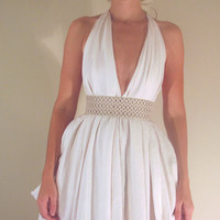 $360.00 Signature Couture Halter in White Linen or color of by Chabri