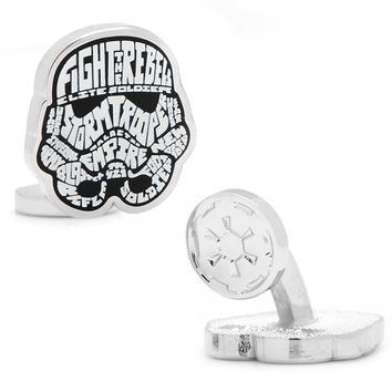 Star Wars Storm Trooper Typography Silver-Plated Cuff Links (White)