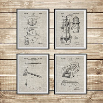 Firefighter Wall Art, Patent Print Group, Firefighter Art Gift, Firefighter Decor, Fireman Art Gift, Fireman Printable, INSTANT DOWNLOAD