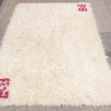 Anatolian Tulu Vintage Rug With High  pile 197 x 142 cm  Free Shipping