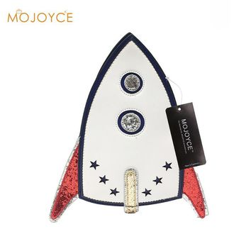 2017 Fashion Design Personality Unique Shape Submarine Rocket Sequins Envelope Clutch Bag Shoulder Bag Messenger Bag Lady Purse