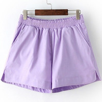 Purple Elastic Waist Slit Shorts