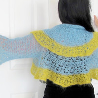 Blue silk shrug, kid mohair and silk color block sweater shrug, crochet luxury outerwear