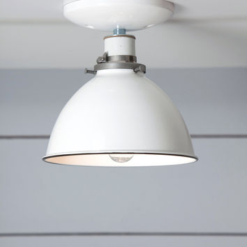 White Metal Shade Light - Semi Flush Mount Lamp