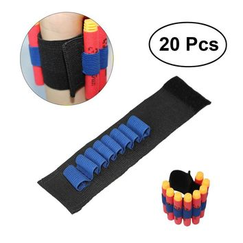 20PCS Bandolier Wrist Strap Elite Tactical Bullet Dart Ammo Storage Wrist Belt Band Strap for Nerf N-strike Blaster Gun