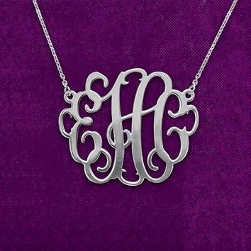 Silver Monogram Necklace - 1.5 inch Personalized Monogram, Personalized Necklace, Monogrammed, Mother Necklace, Birthday Gift