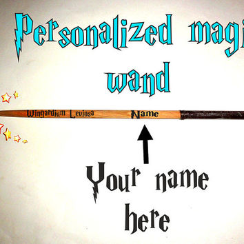 13 Inch Personalized Magic Wand - Harry Potter Wand. Wingardium Leviosa Spelling Magic Wand. Custom Name Magic Wand. Printed Name Magic Wand
