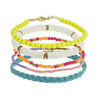 Bead And Plait Anklet Pack - Multi