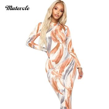 Mutevole Spring Autumn Long Sleeve Print Dress Women Casual Bodycon Midi Dress Graffiti Sexy Slim Club Party Sheath Dress