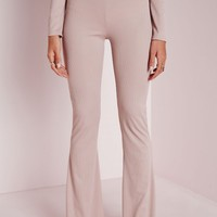 Missguided - Ribbed Wide Leg Trousers Nude