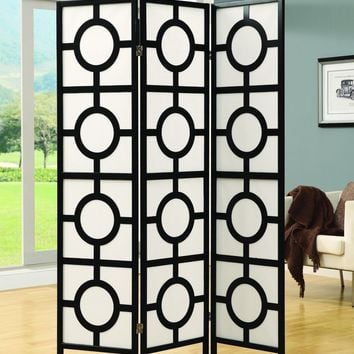 "Black Frame 3 Panel "" Circle Design "" Folding Screen"