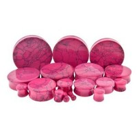 Pink Dyed Howlite Stone Plug - 0G (8mm) Double Flare - Sold as a Pair