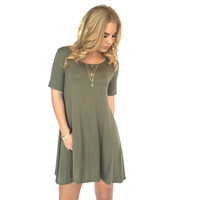 On My Mind Jersey Dress In Olive