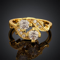 Free shipping 18K gold plated lady Rings jewelry fashion Gem zircon CR079