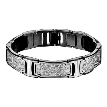 Hollis Bahringer Steel Bold Carved Ornate Mens Link Bracelet 8.5""