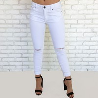 Chloe Distressed Skinny Pants in White
