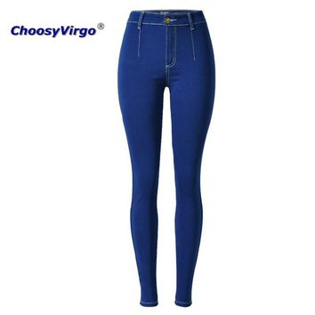 ChoosyVirgo Woman Denim pencil pants dark blue Slim jeans mujer Plus Size stretch Personality skinny jeans Female high Waist