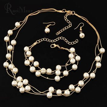 Imitation Pearl Jewelry Sets Gold Statement Necklace Earrings and Bracelet Set for Women Wedding Korean 2016