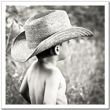 Children nursery decor art, Cowboy portrait dreamy photograph, Texas boy canvas or photo paper 8x8