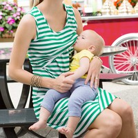 Women Maternity Nursing Breast Feeding Pregnant Sleeveless Dress Striped Dresses