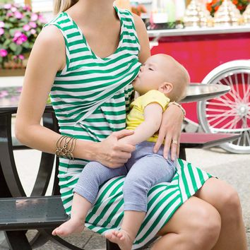 Women Maternity Nursing Breastfeeding Pregnant Sleeveless Dress Striped Dresses drop ship
