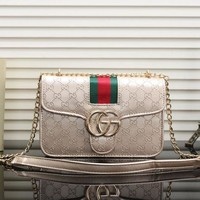 GUCCI trend female classic double G embossed small square bag chain Messenger bag