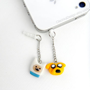 Adventure Time Jake and Finn Charm iPhone Earphone Plug, Dust Plug, Cellphone Accessories, 3.5mm, Polymer Clay, available with Charm Strap