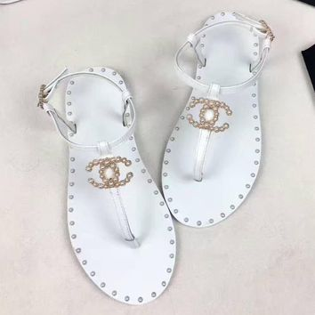 Fashion Online Chanel Women Fashion Pearl Sandals Flats Shoes