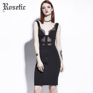 Gothic Body con Dress Black Summer Women Goth Dress Fashion Sheath Street Slim Sexy Preppy Gothics Body con Dresses