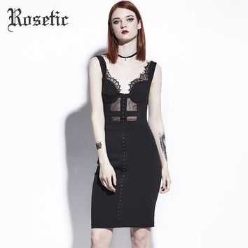 Rosetic Gothic Wild Leak Back Sleeveless Perspective Mesh Black Strapless Summer Lace Sexy Slim Women Dresses