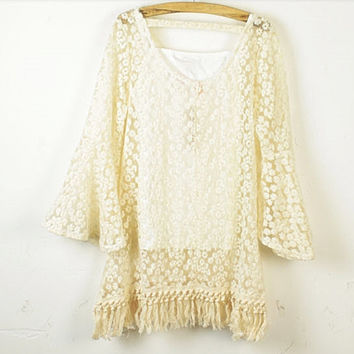 Chic Crop Sleeve Hand Embroidery Floral Lace Fring Hem hand Crochet Mini Short Dress