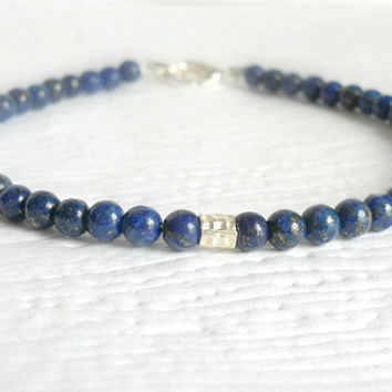 Lapis Lazuli Beaded Bracelet with Karen Hill Tribe Silver, Dainty Everyday Clasp Bracelet, Royal Blue Minimalist Bracelet, cobalt blue