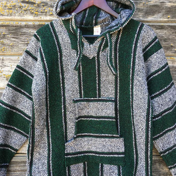 Baja Hoodie green drug rug, Mexican hooded poncho, 90s grunge 1990s vtg, mexico hoodie woven, surfer skater California style