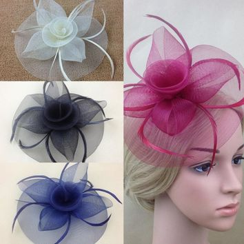 Lady Elegant Fascinator Hat Clips Hairpins Hair Accessories Wedding Party Church KH78