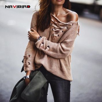 Winter Front Lace Up Knit Sexy V-Neck Pullover Women 2017 New Long Loose Off-Shoulder Sweater Patchwork Knitwear Autumn